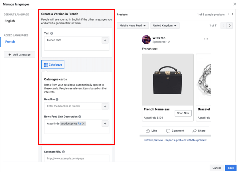 Facebook cross-border ecommerce - dynamic ads