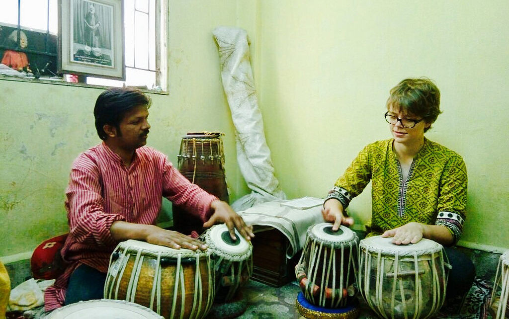 Kyle learning drums in India