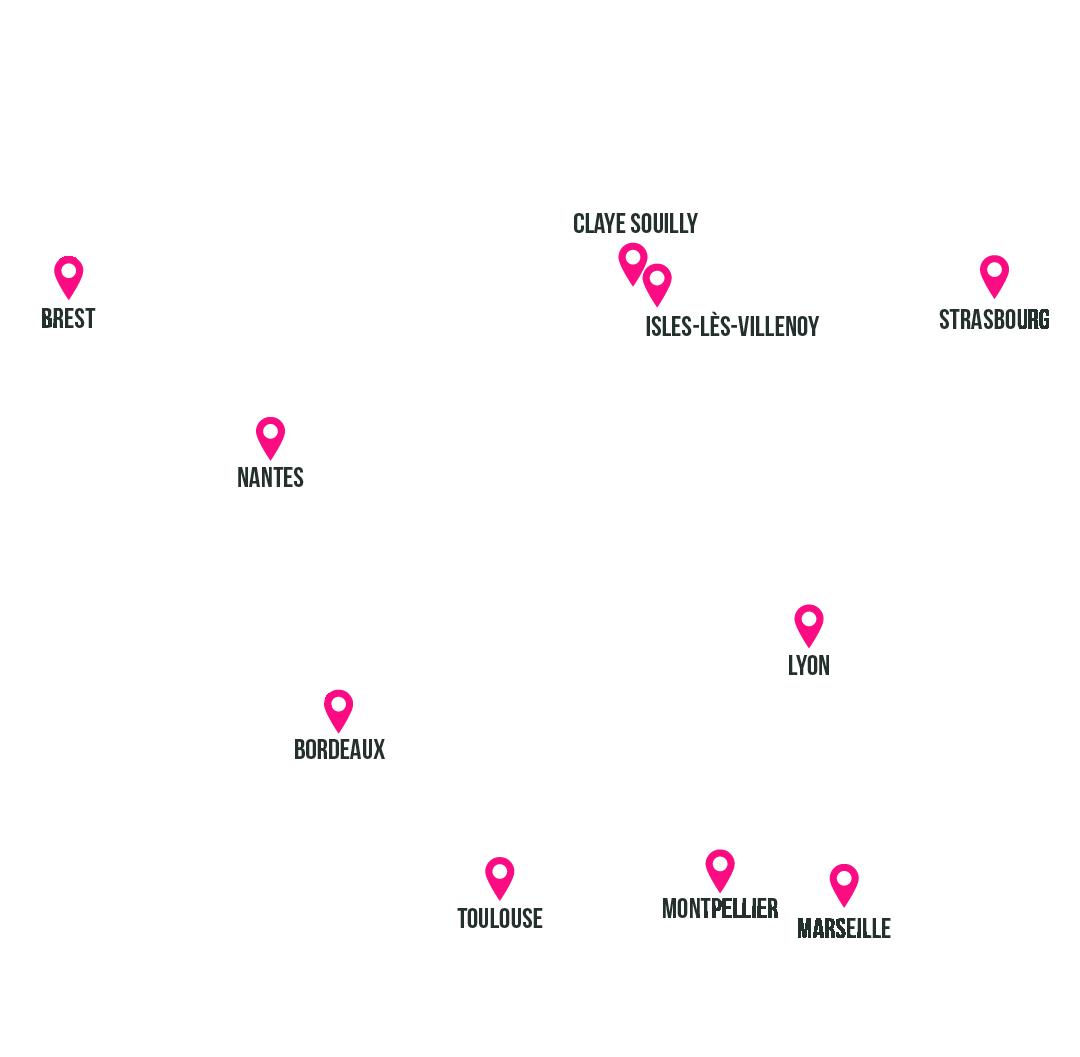 carte de France avec les emplacements des points de vente Qarson