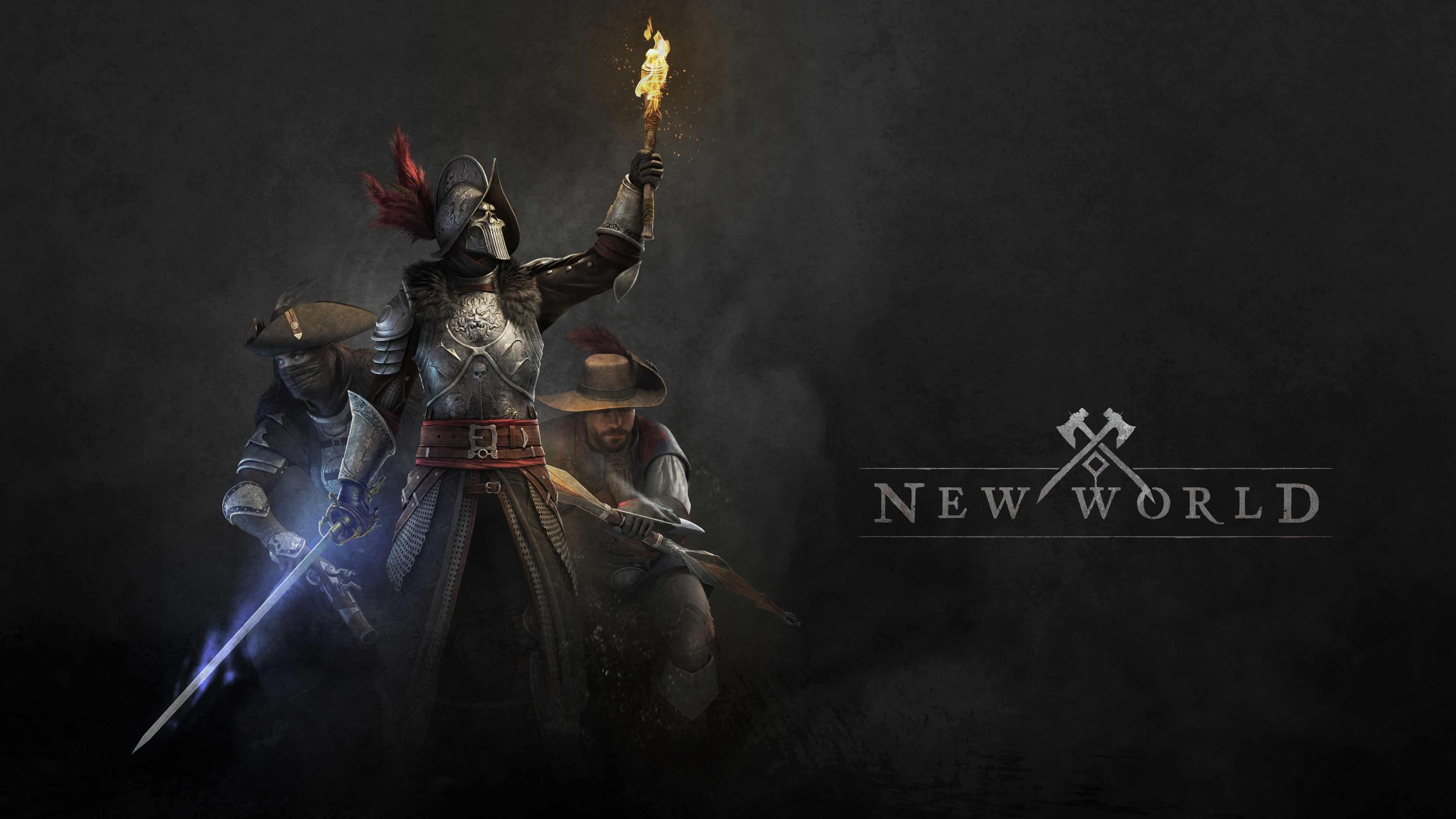 Drei Entdecker, einer mit leuchtendem Schwert und Fackel, stehen neben den New-World-Logo