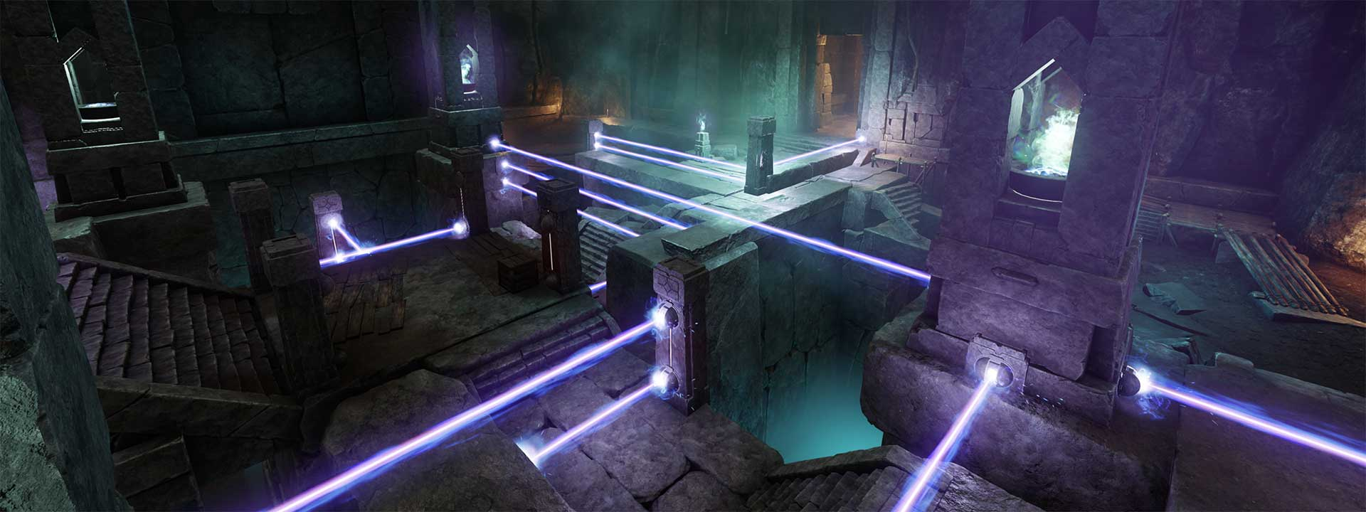 A puzzle room. Several stone towers have beams of light shooting out from one or more of their faces, creating a maze.