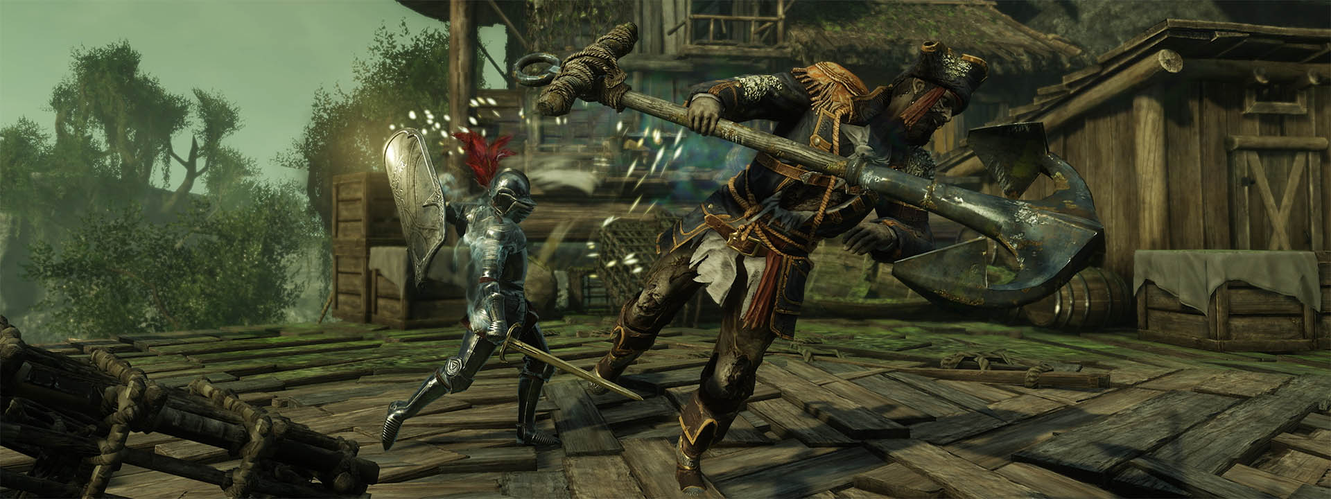 A screenshot showing a player character wielding the new tower shield in combat.