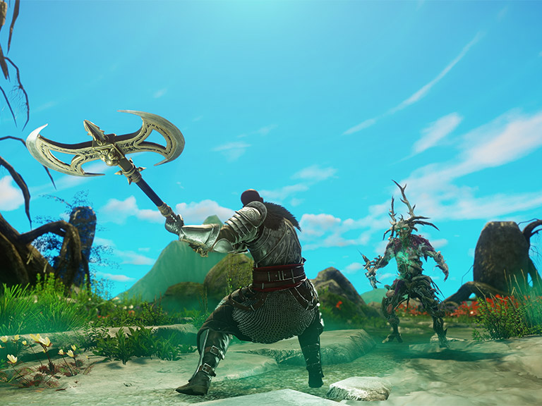 A screenshot showing a player wielding the new Great Axe in combat.