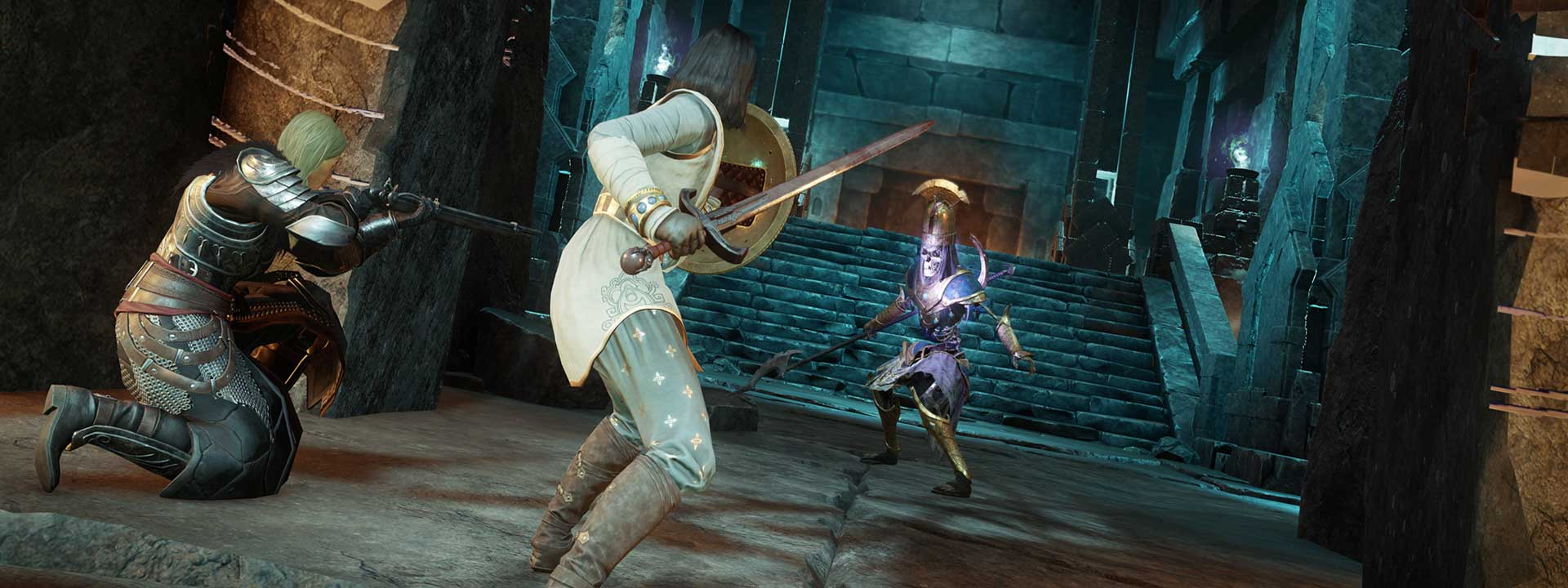 Two adventurers in medium and heavy armor face an Ancient Guardian in a blue-lit hallway.