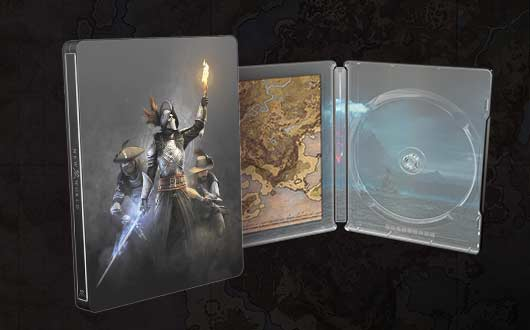 A physical game box and map of Aeternum