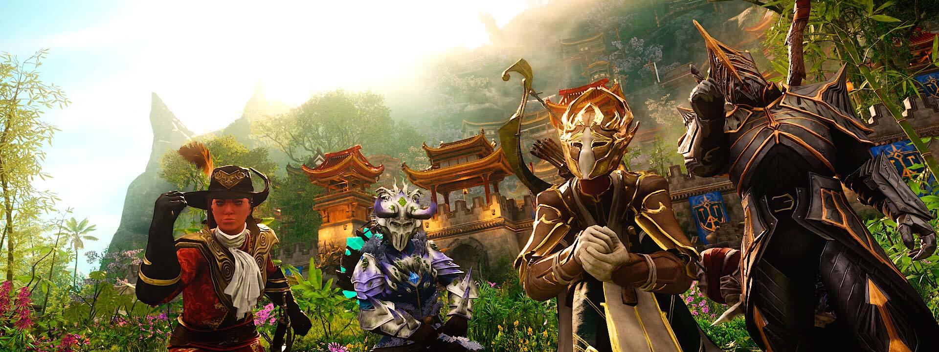 Ein Screenshot mehrerer Charaktere in verschiedenen prachtvollen Rüstungssets.