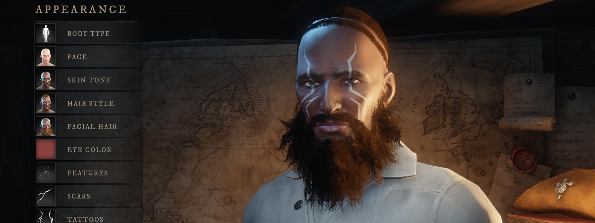 Снимок экрана интерфейса настройки персонажа, на котором изображен человек с темной кожей, дикой бородой и колючими синими татуировками.
