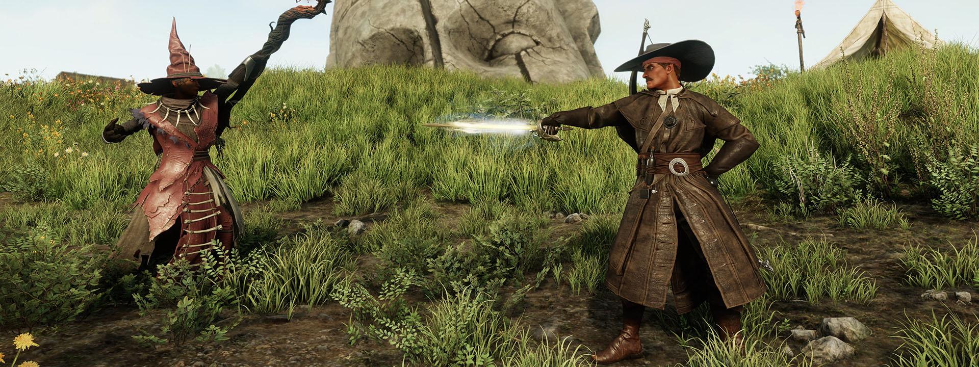 Ein Mann in einem langen Ledermantel in Duellstellung. Eine Hand hält er hinter dem Rücken und in der anderen hat er ein Rapier auf einen Gegner gerichtet.