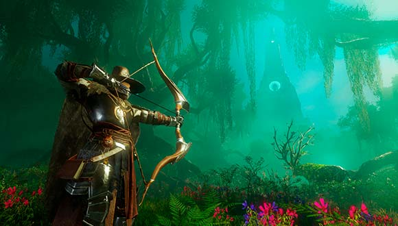 In the misty woods, an archer hunts a deer which seems to be covered with plants and vines