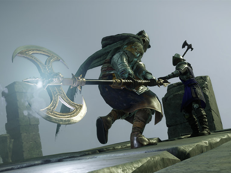 A screenshot of two New World characters fighting.