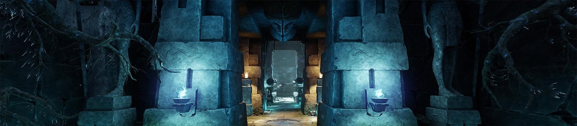 Ein Screenshot eines langen Ganges, in dem keine Spieler oder Gegner zu sehen sind. Der Gang besteht aus uraltem gehauenem Stein und wird abwechselnd von kalten und warmen Lichtern beleuchtet. Er ist gesäumt von knorrigen Bäumen.