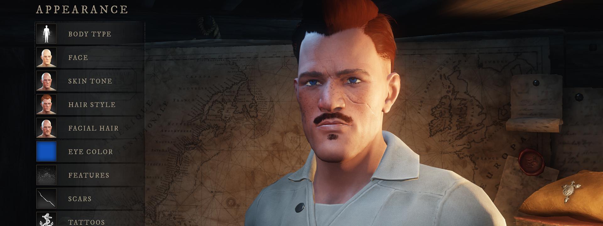 Снимок экрана интерфейса настройки персонажа, на котором изображен человек со светлой кожей, причесанными волосами, небольшими усиками и бородой.
