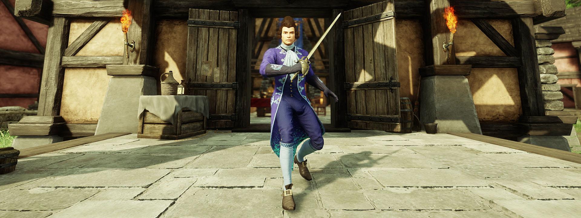 Ein Screenshot eines Mannes in eleganter lila Kleidung im Regency-Stil, der aus einem Gebäude kommt und sein Rapier wie zum Kampf hält.