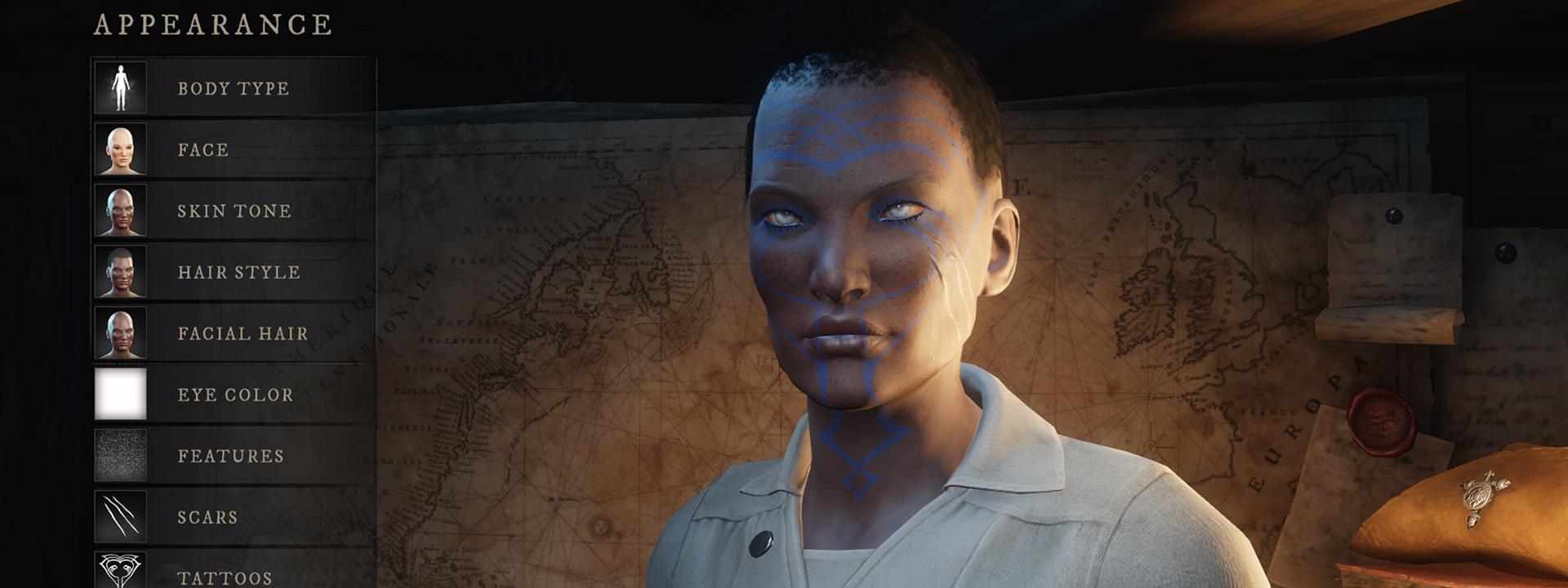 Скриншот экрана настройки персонажа, на котором изображен персонаж с темно-коричневой кожей, бледными глазами и линиями ярко-синих татуировок, пересекающих его лицо.