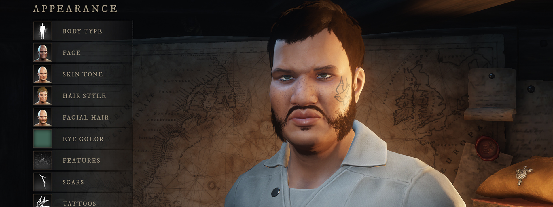 Скриншот экрана настройки персонажа, на котором изображен персонаж с загорелой кожей, бараньими отбивными, усами и татуировкой птицы на лице.