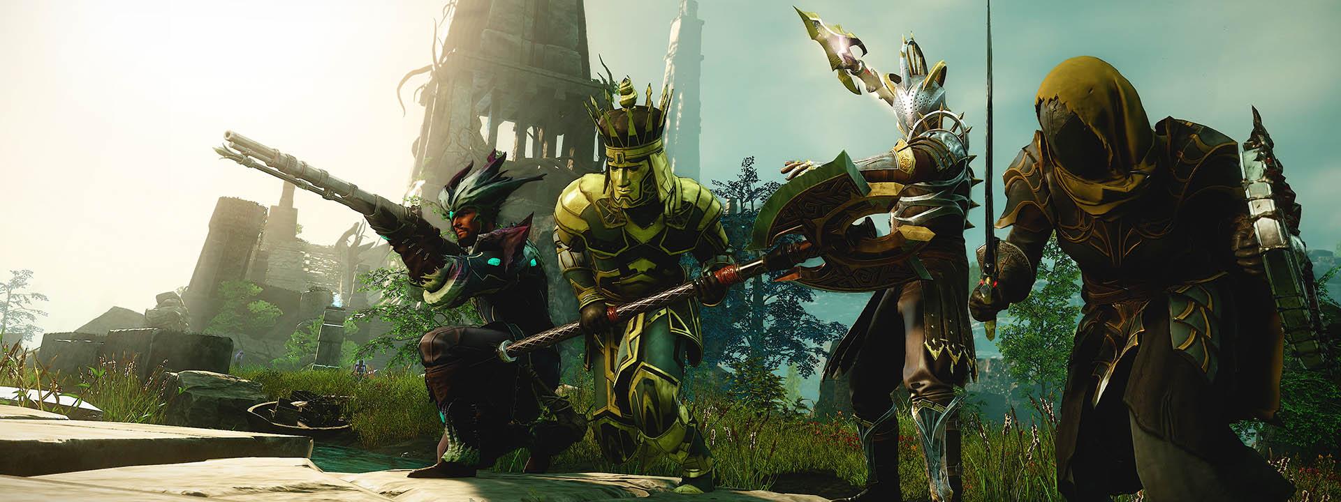 Группа из четырех персонажей, каждый в разных наборах доспехов, стоит на улице перед руинами с оружием в руках.