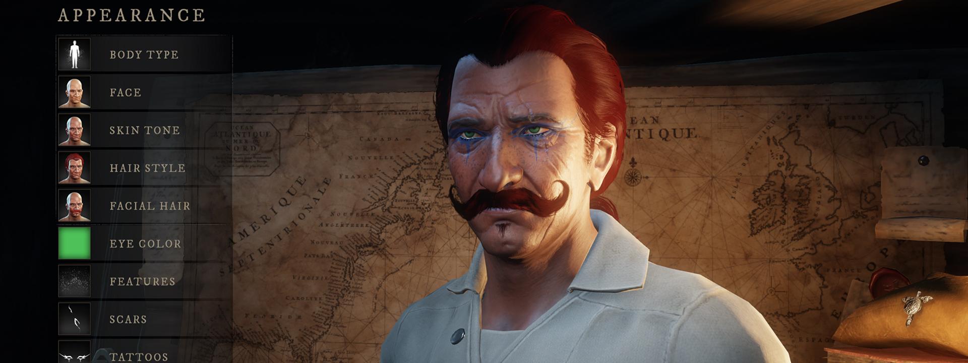 Снимок экрана интерфейса настройки персонажа, на котором изображен человек с темной кожей, синими татуировками под глазами и усами на руле.