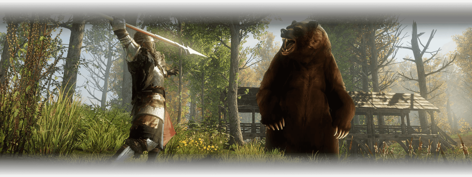 A speared explorer attacks a bear in the woods outside of a fort
