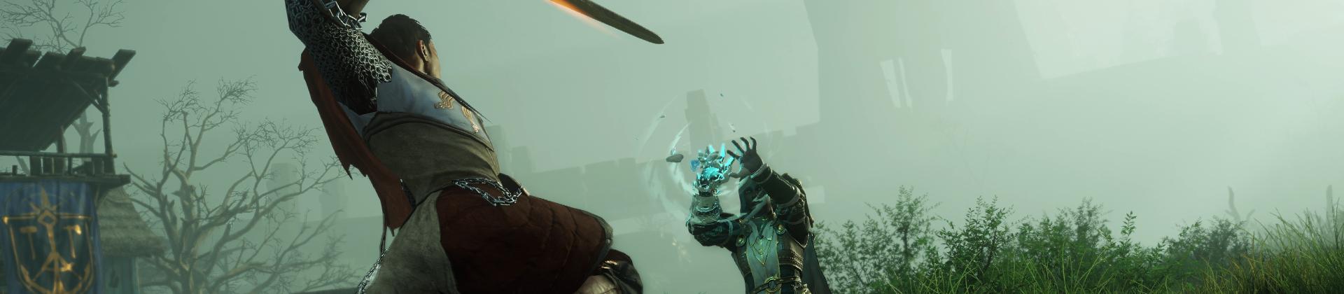 Ein Screenshot eines Duells zwischen zwei Spielern in New World. Der Charakter mit dem Rücken zur Kamera schwingt ein Schwert gegen einen Charakter, der die neue Eisstulpe trägt und damit einen Zauberspruch wirkt.