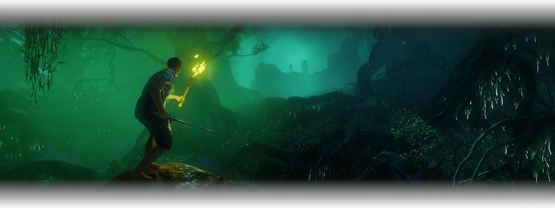 An explorer holds a torch while he walks through the dark and misty forest