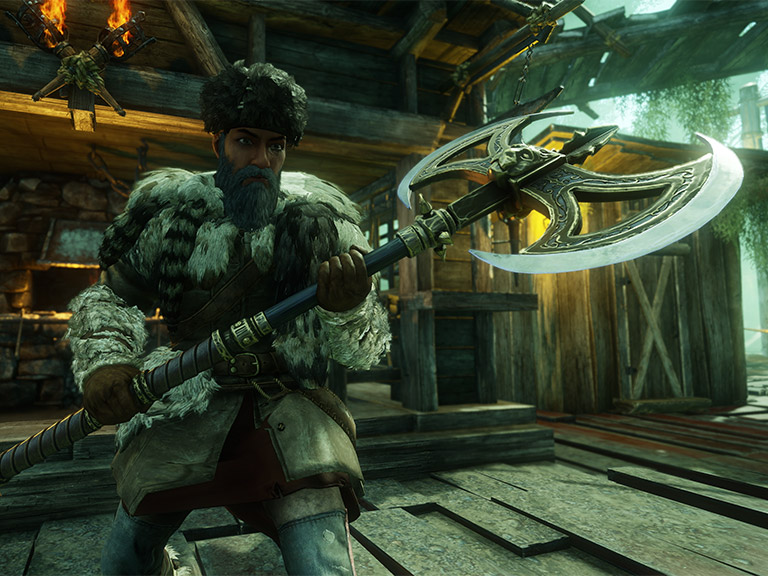 A screenshot showing a close-up of a player wielding the new Great Axe.