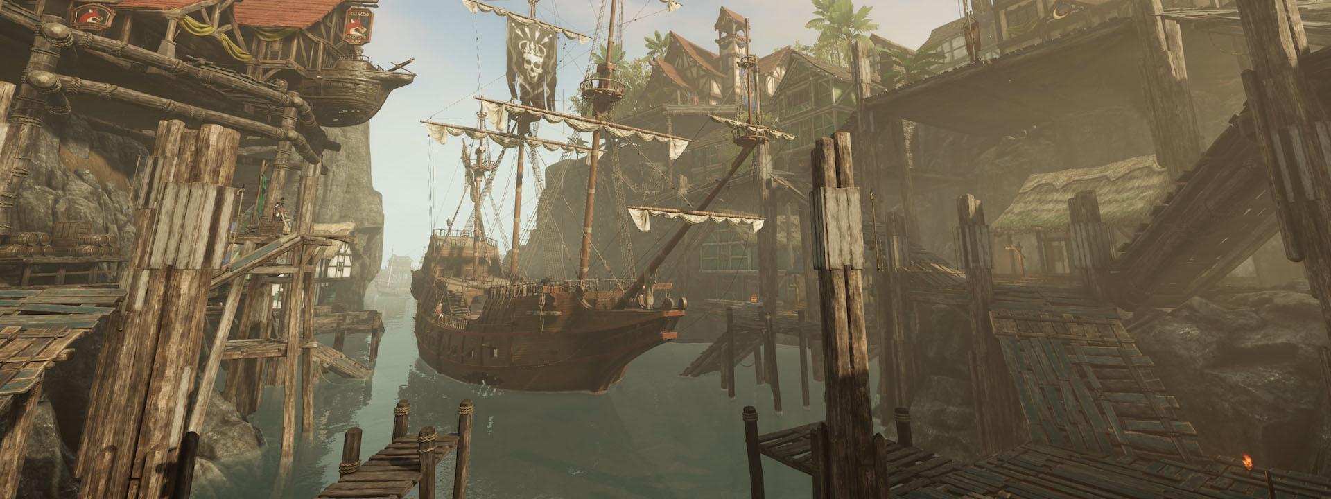 Ein Screenshot von den neu arrangierten Restless Shores. Gebäude drängen sich um einen kleinen Küstenhafen, in dem sich ein Schiff zum Anlegen vorbereitet.