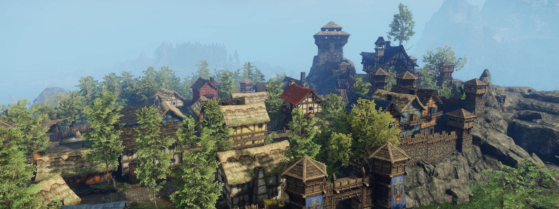 Ein Screenshot der neuen Skyline von Monarch Bluff. Ein Gebäude steht größer als die anderen, und hohe grüne Bäume sind mit den Gebäuden vermischt.