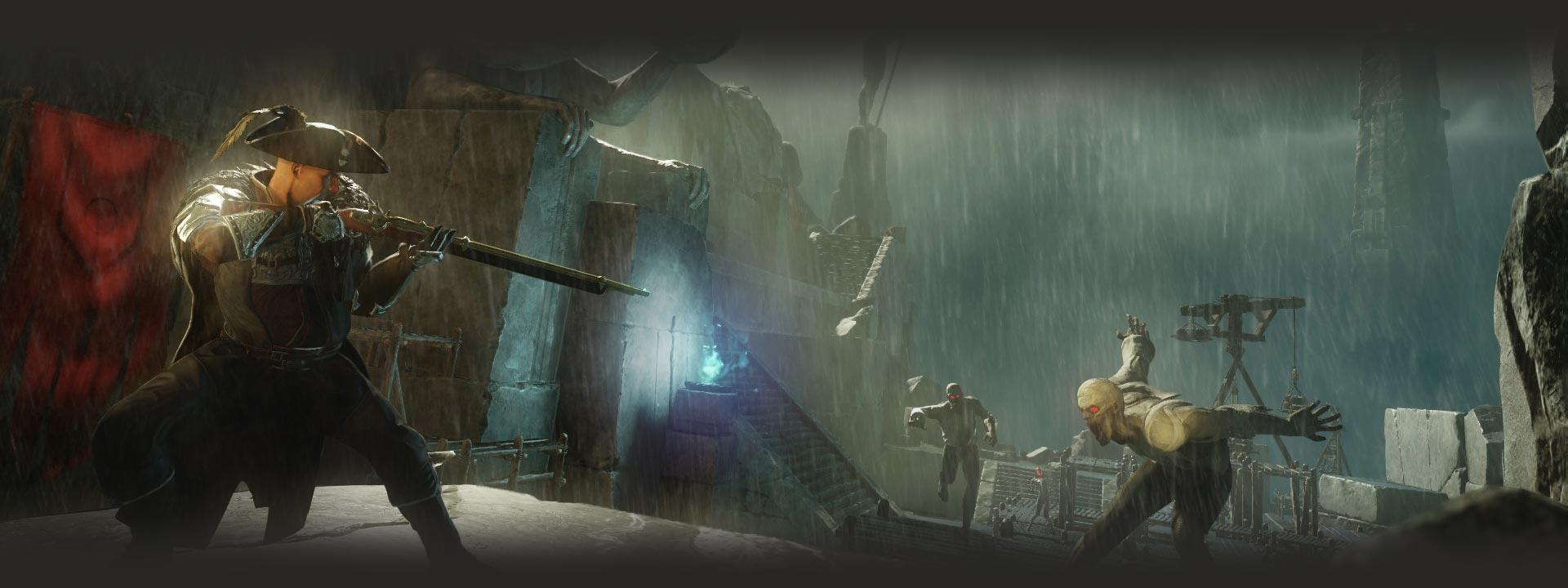 Un explorador se detiene para disparar a los no muertos que lo persiguen por ruinas antiguas