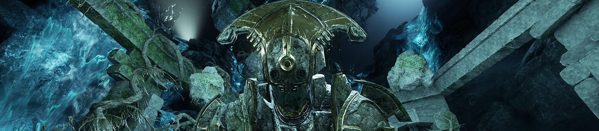 Ein Screenshot von New World, der eine riesige, aus Stein gehauene Gestalt zeigt. Sie lehnt mit den gewaltigen Fäusten am Boden über einer blaugrünen Arena, und nur ihr Oberkörper ist sichtbar.