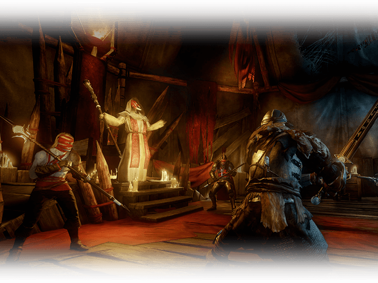 Soldiers prepare to fight a Corrupted priest in a room with candles and red curtains