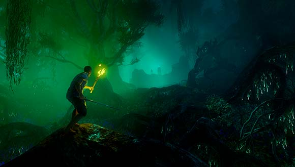 An explorer holds a torch while he walks through the dark and misty forest. In the distance he can see a large fort.