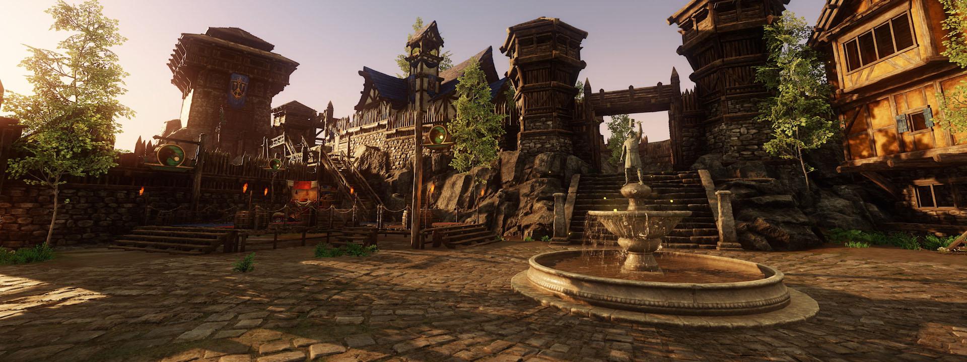 Ein Screenshot zeigt den neu gestalteten Stadtplatz für Monarch's Bluffs mit mehreren hohen Türmen, einem offenen Innenhof und einem dekorativen Brunnen.