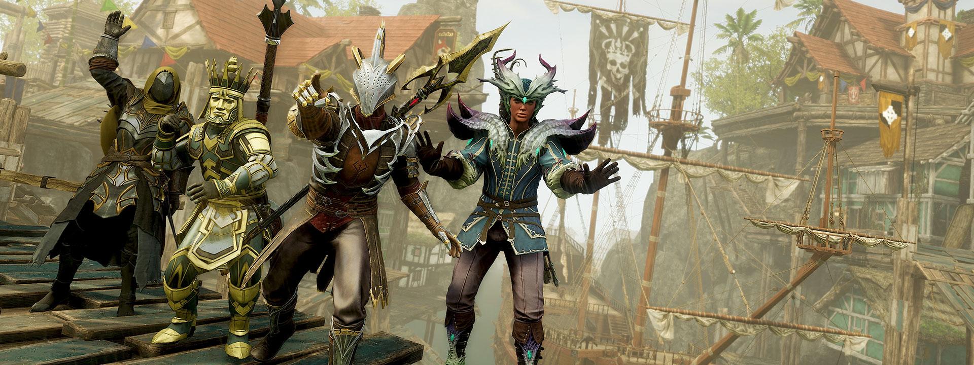 Четыре игрока, каждый в визуально отличной одежде, позируют на ярком променаде.
