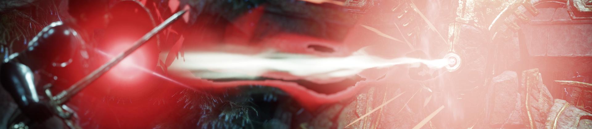 Ein Screenshot eines riesigen steinernen Behemoths, der aus seiner Gesichtsplatte einen roten Strahl auf einen Spieler schießt, der diesen mit seinem Schwert ablenkt.
