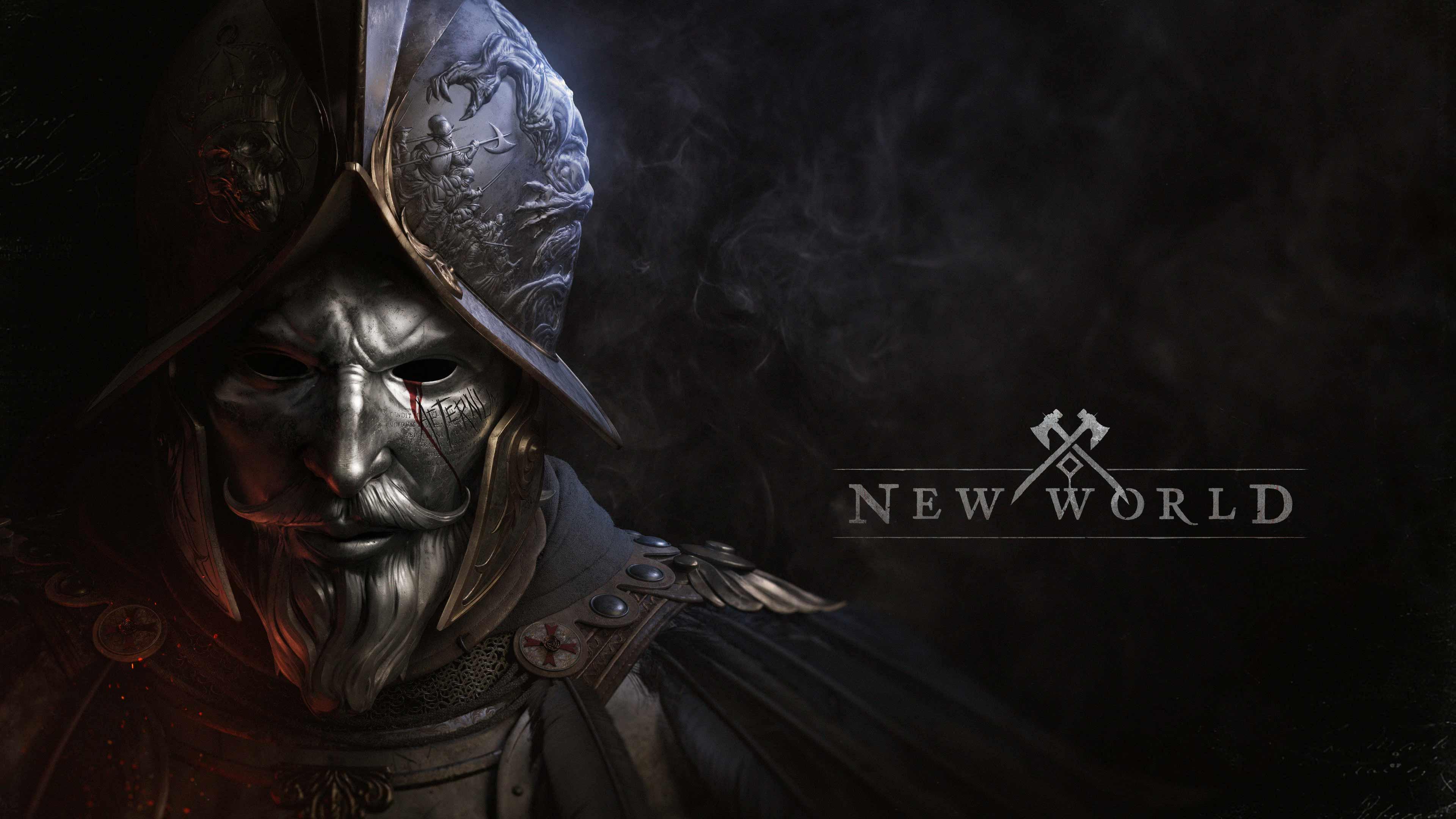 The New World logo alongside a masked explorer whose helmet has engravings of monsters