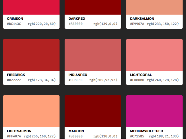CSS Colour Names