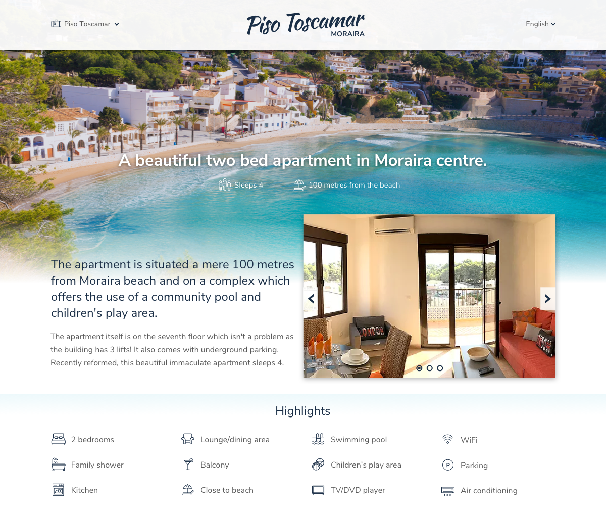 Design for a holiday rental website in Moraira, Spain