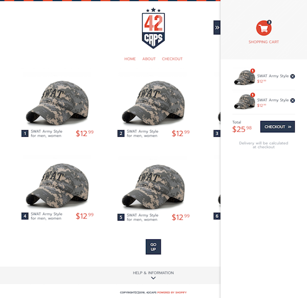 42caps page and checkout