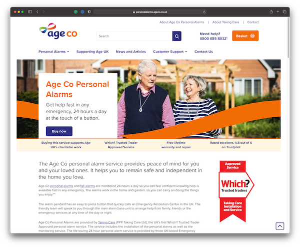 Age Co Personal Alarms website