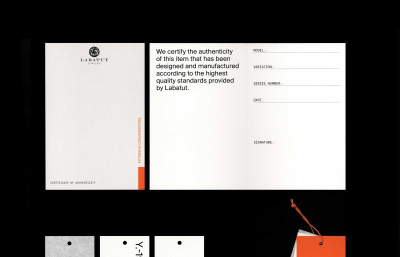 Studio Mitsu for Labatut Paris, Stationary.  Graphic design, visual identity, packaging, branding, layout, graphic system.