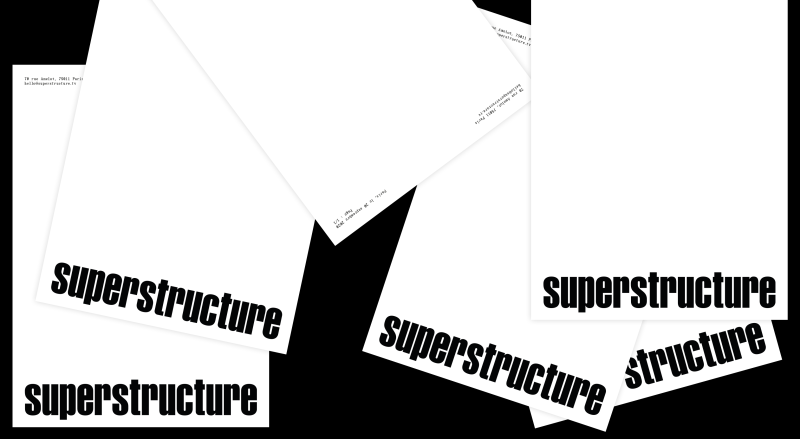 Studio Mitsu for Superstructure, design global, visual identity, stationery, letterhead