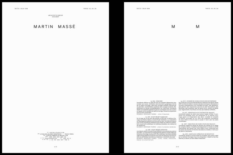 Studio Mitsu for Martin Masse Architect and designer.  Graphic design, visual identity, business card, letterhead, stationary, typography, design.