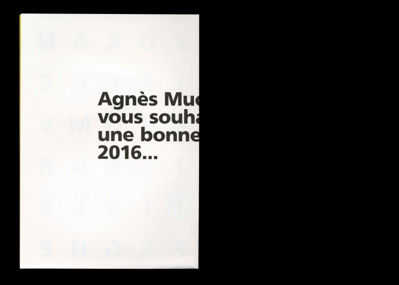 Studio Mitsu for Agnès Muckensturm. Greeting card 2016. Gradient, typography, graphic design, conception, colors, poster.