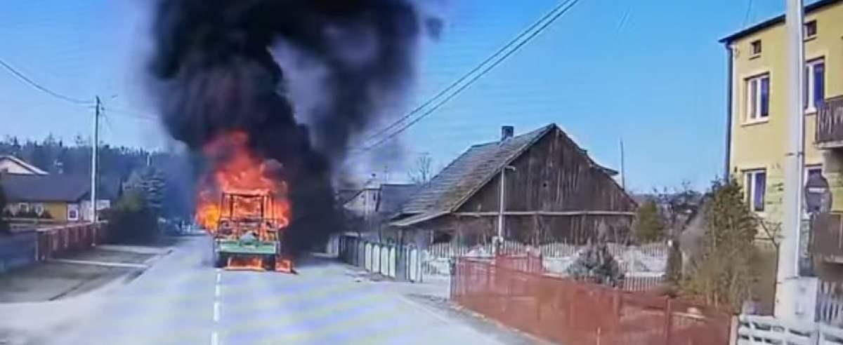 Pożar - ciągnik