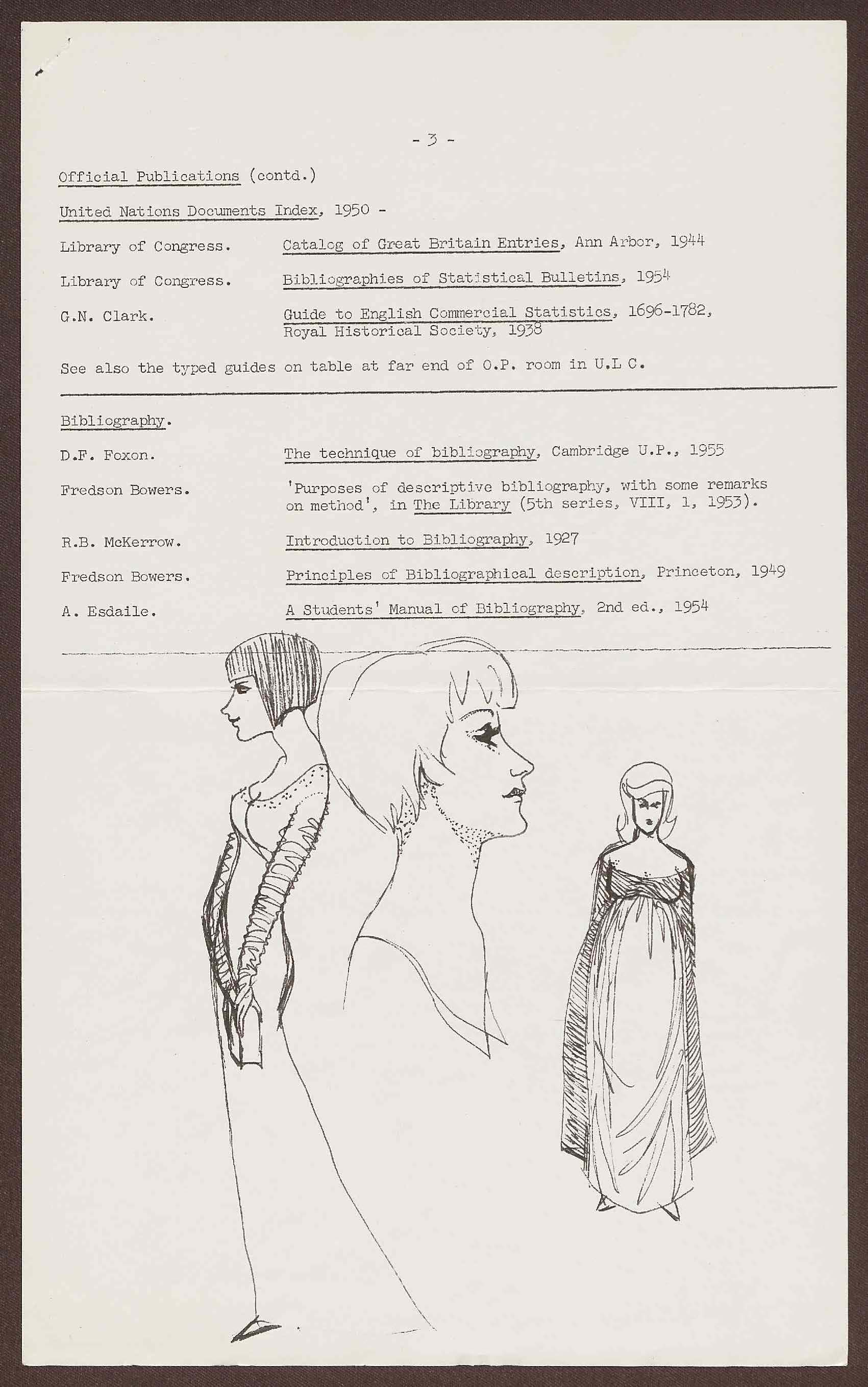 Drawings of women on a typed, hand-annotated bibliography