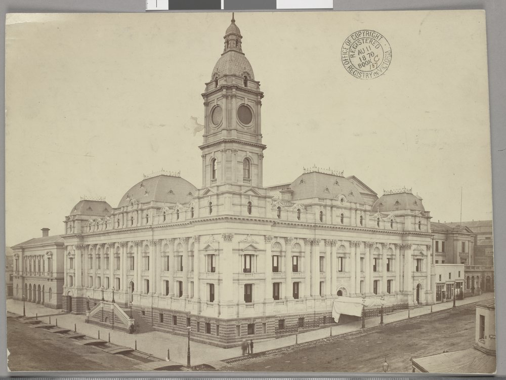 Melbourne Town Hall in 1864. Image: State Library of Victoria