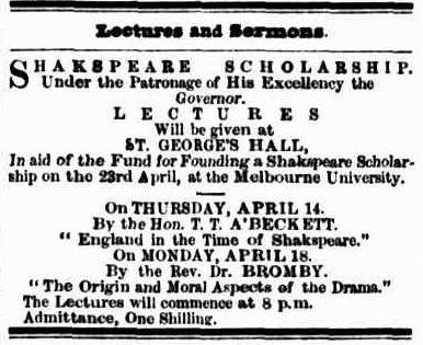 Advertisement for a fundraising event for the Shakespeare Scholarship