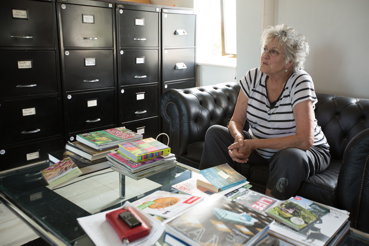 Germaine Greer in her office at home in Essex, 2014