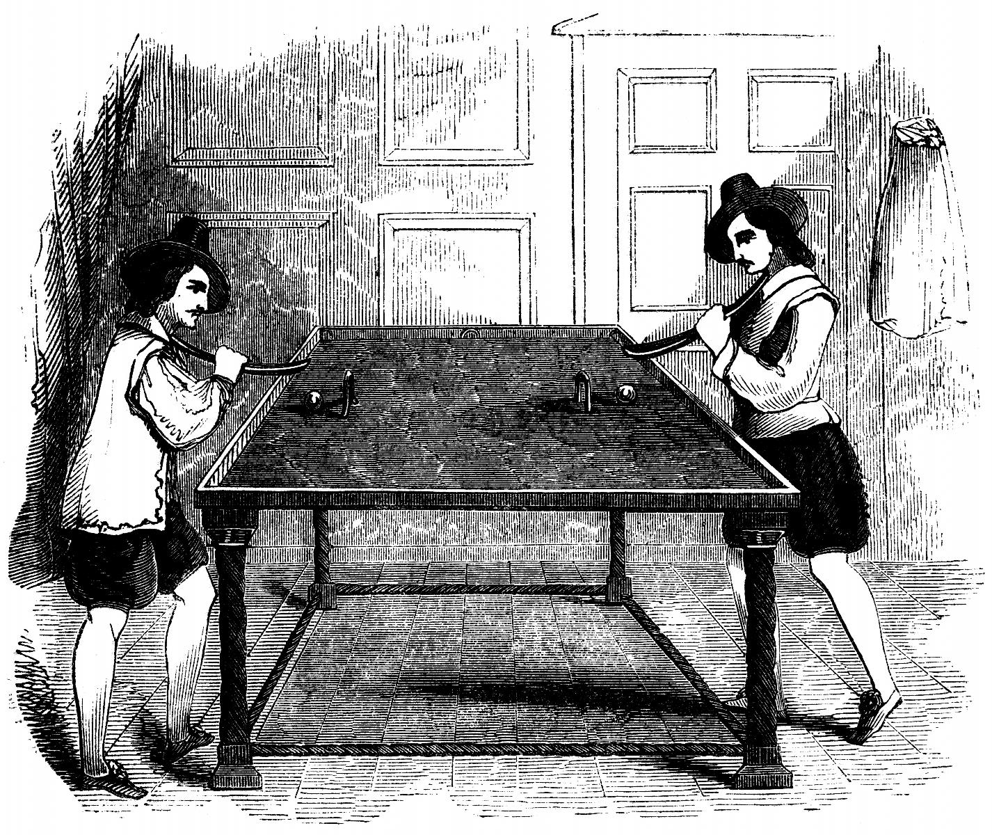 Men playing billiards. Engraving, The School of Recreation, 1710