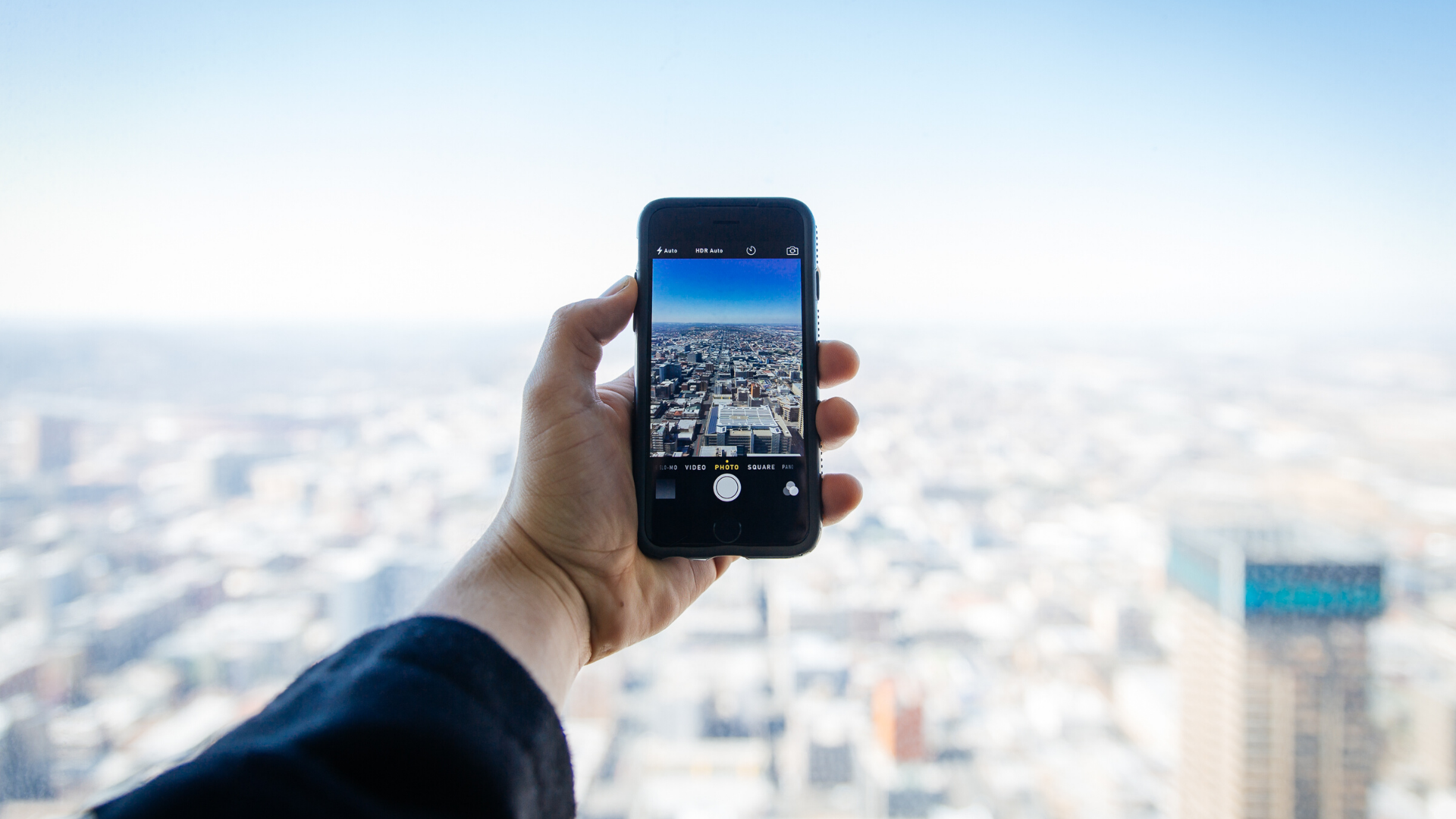 An iPhone camera overlooking a city
